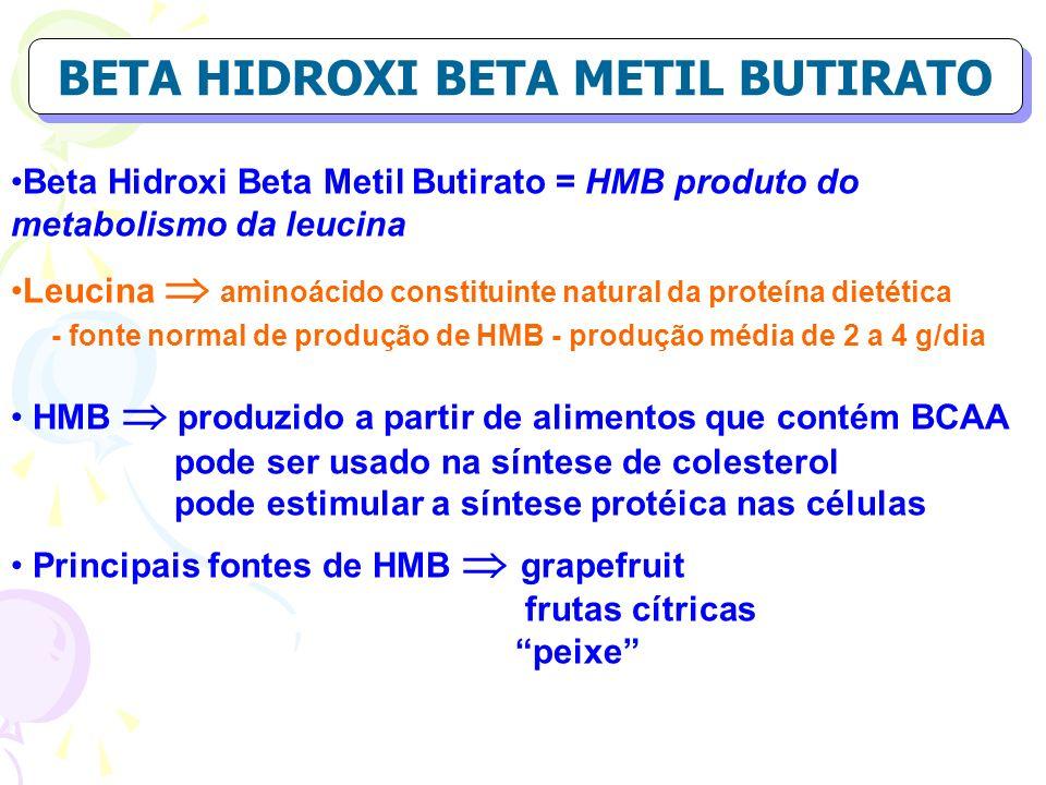 BETA HIDROXI BETA METIL BUTIRATO Beta Hidroxi Beta Metil Butirato = HMB produto do metabolismo da leucina Leucina aminoácido constituinte natural da p