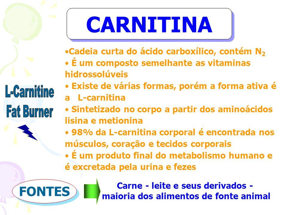 CARNITINA Cadeia curta do ácido carboxílico, contém N 2 É um composto semelhante as vitaminas hidrossolúveis Existe de várias formas, porém a forma at