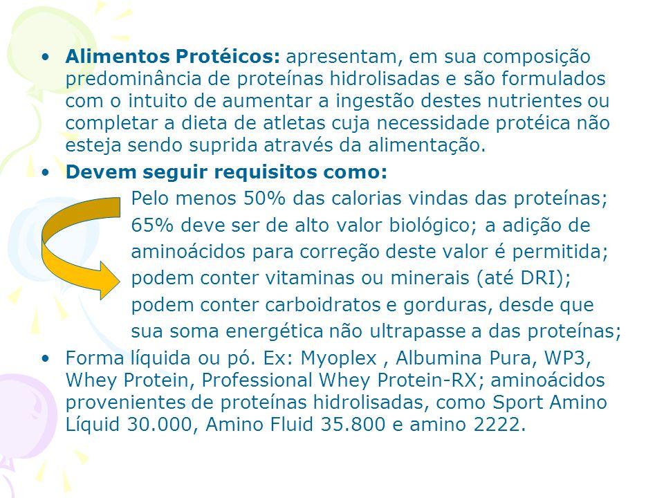 Alimentos compensadores (hipercalóricos); produtos com concentração variada de macronutrientes (proteínas, carboidratos e gordura), visando à adequação desses nutrientes a dieta de praticantes de atividade física, Devem seguir requisitos como: Os CHO devem estar abaixo de 90% das calorias do produto; 65% de proteína de alto valor biológico; gorduras 1:1:1 (saturada, mono e poliinsaturada); opcional - vitaminas e minerais seguindo as DRIs.