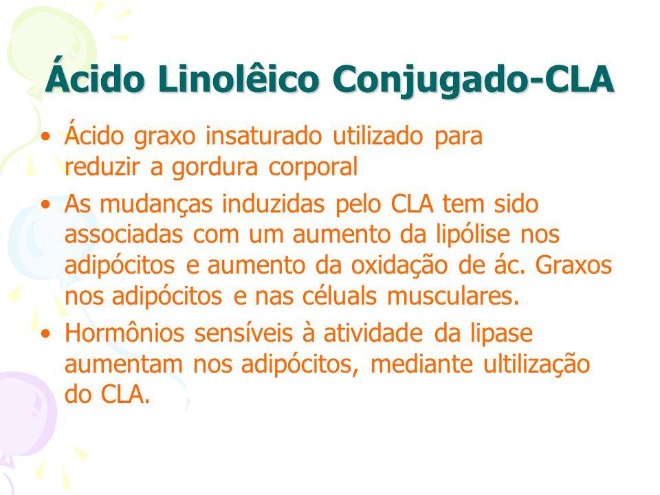Ácido Linolêico Conjugado-CLA Ácido graxo insaturado utilizado para reduzir a gordura corporal As mudanças induzidas pelo CLA tem sido associadas com