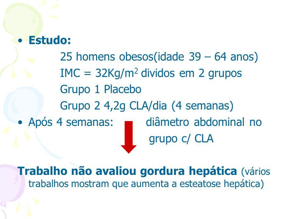 Estudo: 25 homens obesos(idade 39 – 64 anos) IMC = 32Kg/m 2 dividos em 2 grupos Grupo 1 Placebo Grupo 2 4,2g CLA/dia (4 semanas) Após 4 semanas: diâme