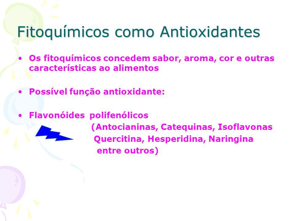 Fitoquímicos como Antioxidantes Os fitoquímicos concedem sabor, aroma, cor e outras características ao alimentos Possível função antioxidante: Flavonó