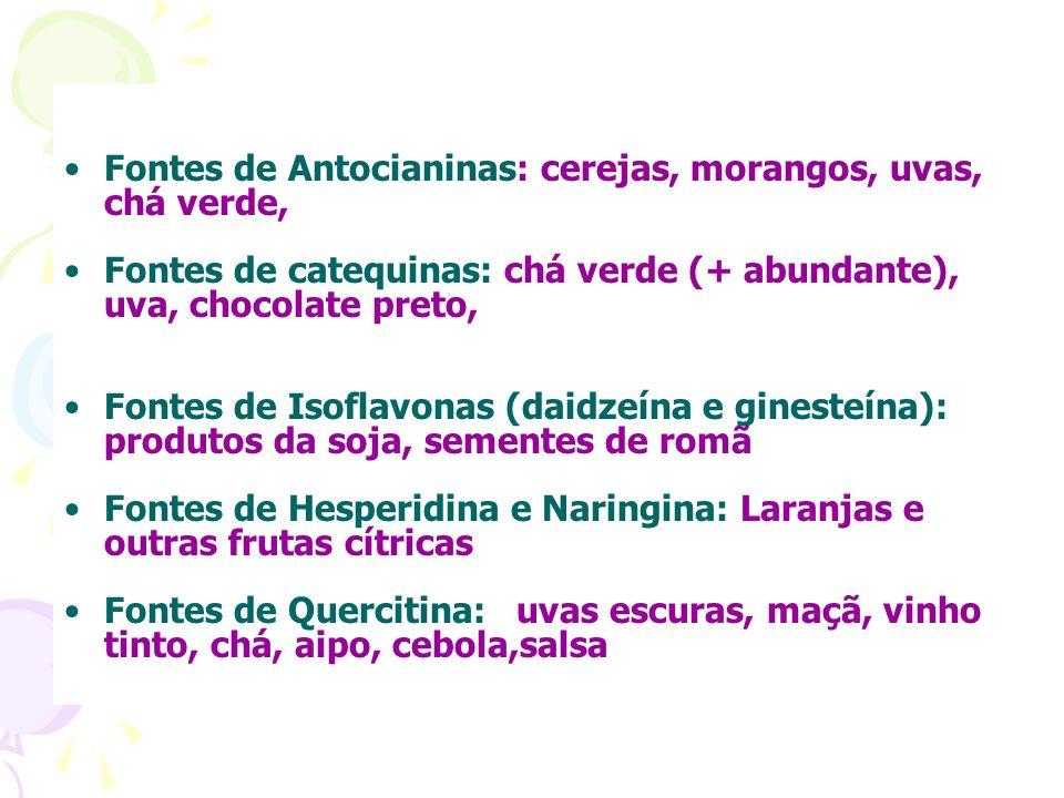 Fontes de Antocianinas: cerejas, morangos, uvas, chá verde, Fontes de catequinas: chá verde (+ abundante), uva, chocolate preto, Fontes de Isoflavonas