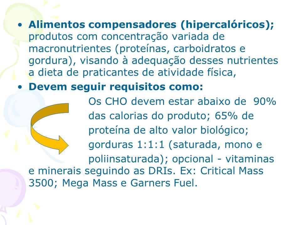 Alimentos compensadores (hipercalóricos); produtos com concentração variada de macronutrientes (proteínas, carboidratos e gordura), visando à adequaçã