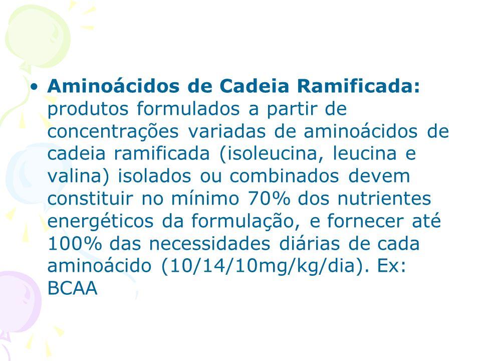 Aminoácidos de Cadeia Ramificada: produtos formulados a partir de concentrações variadas de aminoácidos de cadeia ramificada (isoleucina, leucina e va