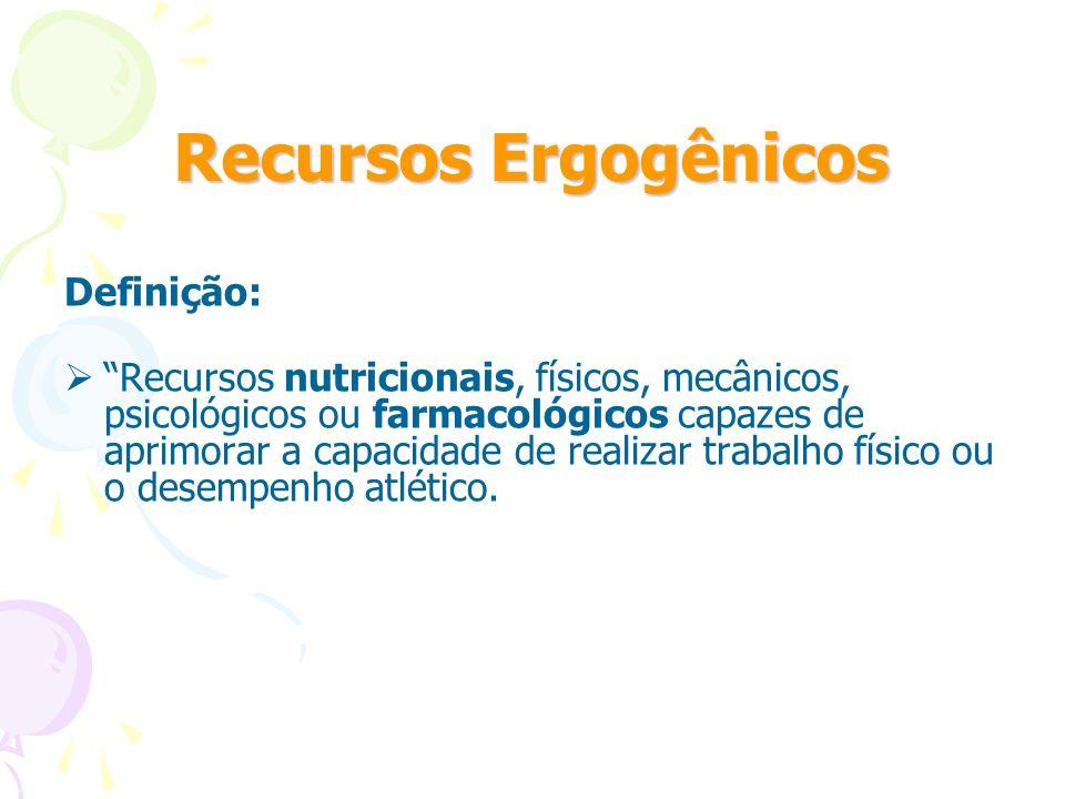 Recursos Ergogênicos Definição: Recursos nutricionais, físicos, mecânicos, psicológicos ou farmacológicos capazes de aprimorar a capacidade de realiza