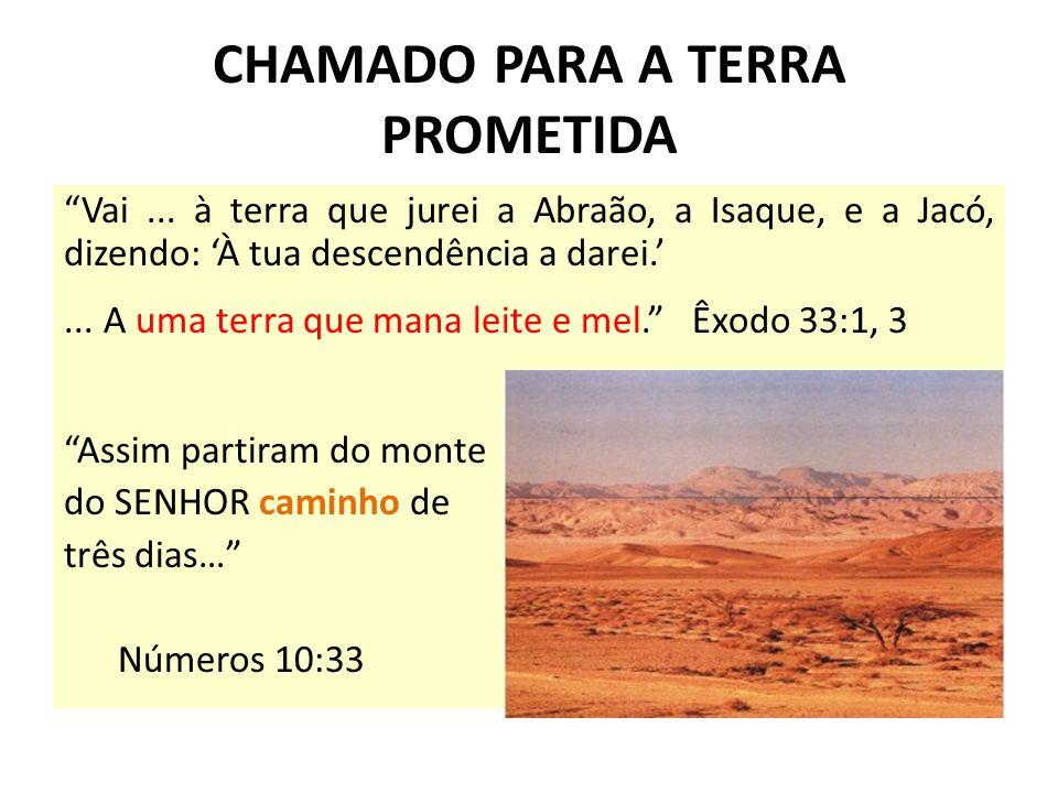 CHAMADO PARA A TERRA PROMETIDA Vai... à terra que jurei a Abraão, a Isaque, e a Jacó, dizendo: À tua descendência a darei.... A uma terra que mana lei