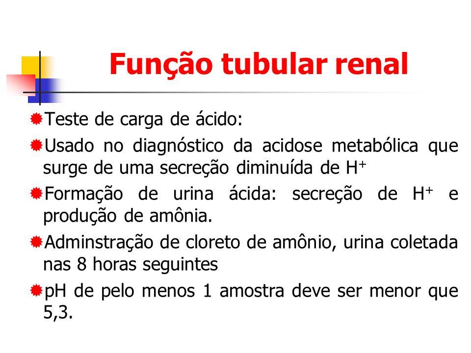 Função tubular renal Teste de carga de ácido: Usado no diagnóstico da acidose metabólica que surge de uma secreção diminuída de H + Formação de urina ácida: secreção de H + e produção de amônia.