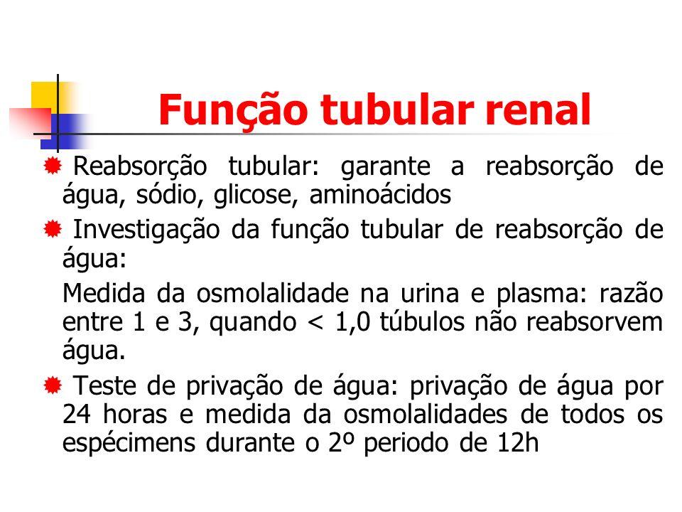 Função tubular renal Reabsorção tubular: garante a reabsorção de água, sódio, glicose, aminoácidos Investigação da função tubular de reabsorção de água: Medida da osmolalidade na urina e plasma: razão entre 1 e 3, quando < 1,0 túbulos não reabsorvem água.