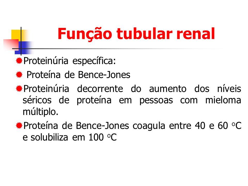 Função tubular renal Proteinúria específica: Proteína de Bence-Jones Proteinúria decorrente do aumento dos níveis séricos de proteína em pessoas com mieloma múltiplo.