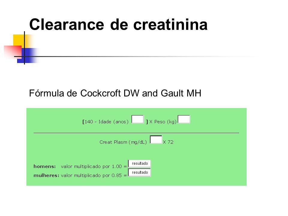 Clearance de creatinina Fórmula de Cockcroft DW and Gault MH