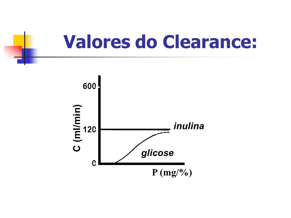 PAH glicose 120 600 0 C (ml/min) inulina P (mg/%) Valores do Clearance: