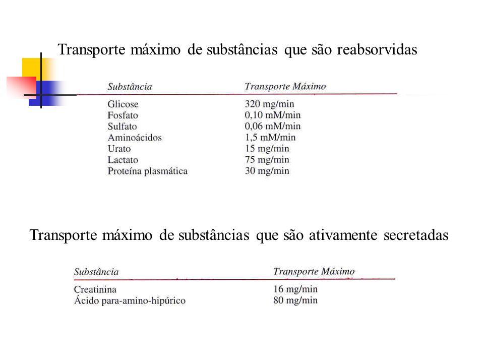 Transporte máximo de substâncias que são reabsorvidas Transporte máximo de substâncias que são ativamente secretadas