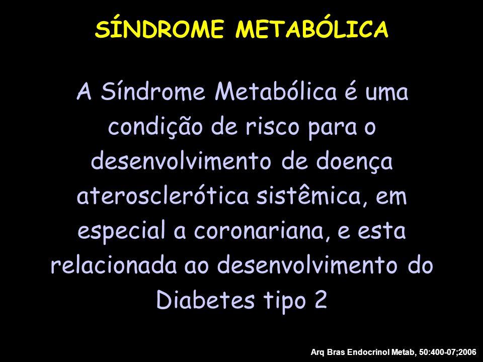 A Síndrome Metabólica é uma condição de risco para o desenvolvimento de doença aterosclerótica sistêmica, em especial a coronariana, e esta relacionad