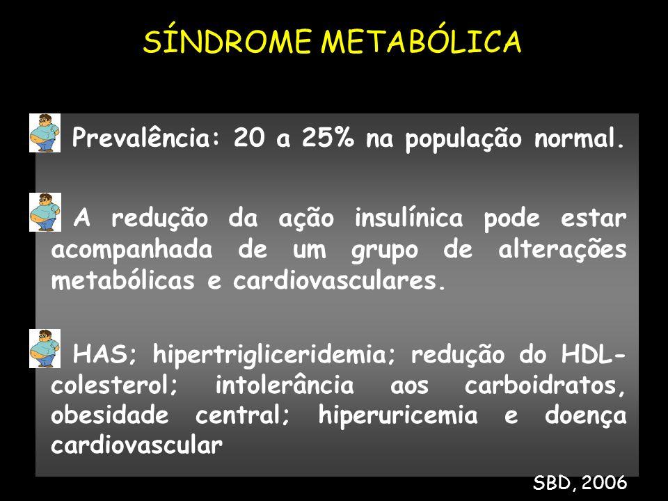 Prevalência: 20 a 25% na população normal. A redução da ação insulínica pode estar acompanhada de um grupo de alterações metabólicas e cardiovasculare