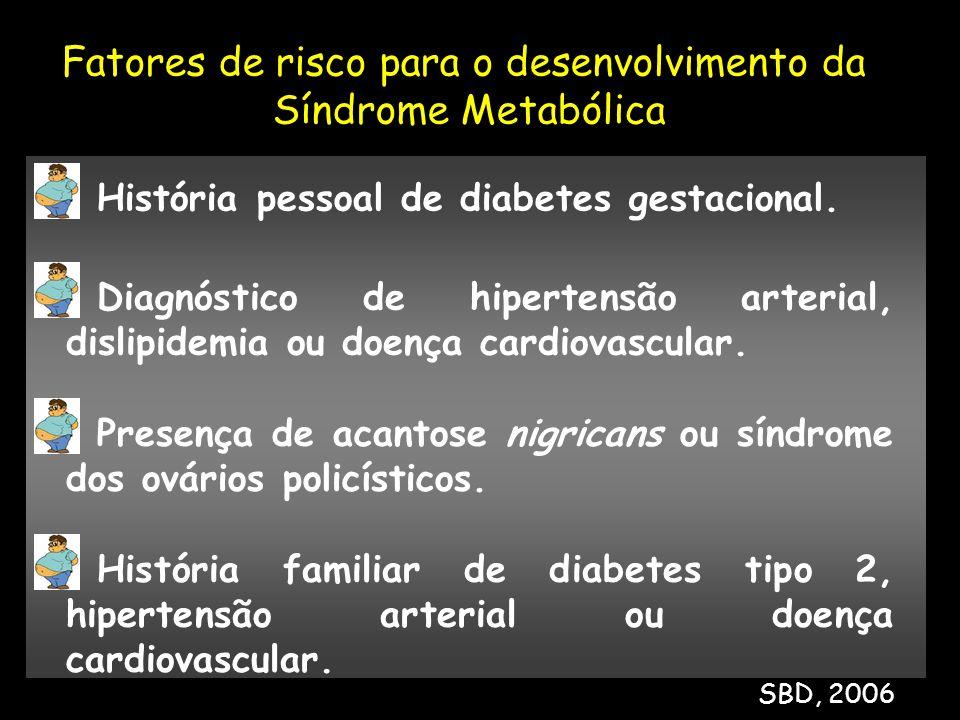 História pessoal de diabetes gestacional. Diagnóstico de hipertensão arterial, dislipidemia ou doença cardiovascular. História familiar de diabetes ti