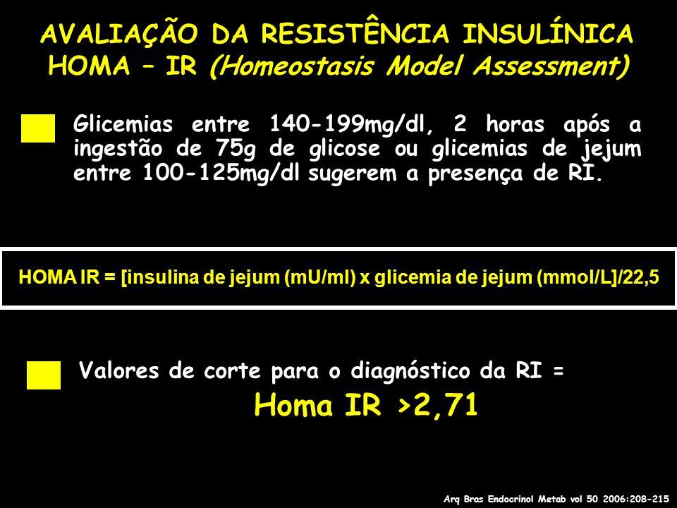 AVALIAÇÃO DA RESISTÊNCIA INSULÍNICA HOMA – IR (Homeostasis Model Assessment) Glicemias entre 140-199mg/dl, 2 horas após a ingestão de 75g de glicose o