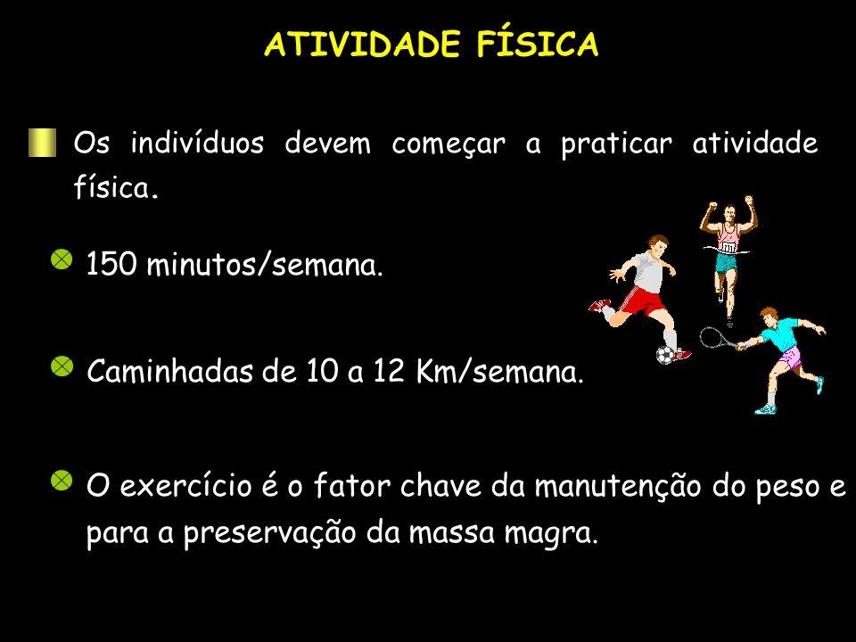 ATIVIDADE FÍSICA 150 minutos/semana. Caminhadas de 10 a 12 Km/semana. O exercício é o fator chave da manutenção do peso e para a preservação da massa