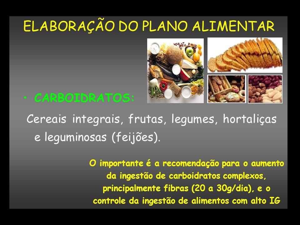 ELABORAÇÃO DO PLANO ALIMENTAR CARBOIDRATOS: Cereais integrais, frutas, legumes, hortaliças e leguminosas (feijões). O importante é a recomendação para
