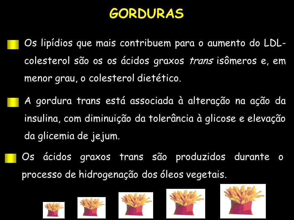 GORDURAS Os lipídios que mais contribuem para o aumento do LDL- colesterol são os os ácidos graxos trans isômeros e, em menor grau, o colesterol dieté