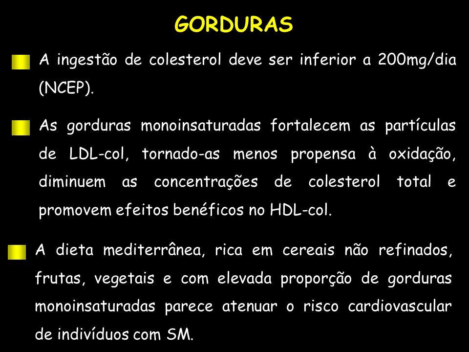 GORDURAS A ingestão de colesterol deve ser inferior a 200mg/dia (NCEP). As gorduras monoinsaturadas fortalecem as partículas de LDL-col, tornado-as me