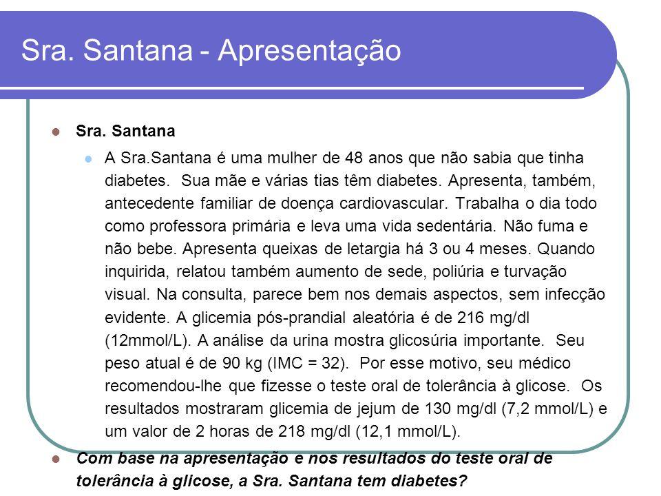 Sra. Santana - Apresentação Sra. Santana A Sra.Santana é uma mulher de 48 anos que não sabia que tinha diabetes. Sua mãe e várias tias têm diabetes. A