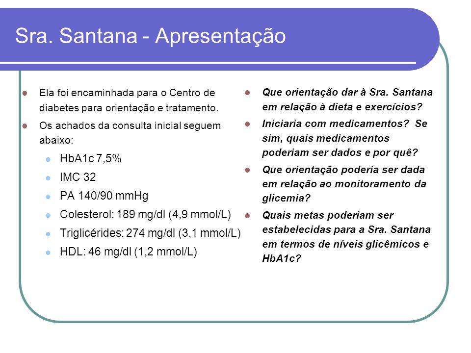 Sra. Santana - Apresentação Ela foi encaminhada para o Centro de diabetes para orientação e tratamento. Os achados da consulta inicial seguem abaixo: