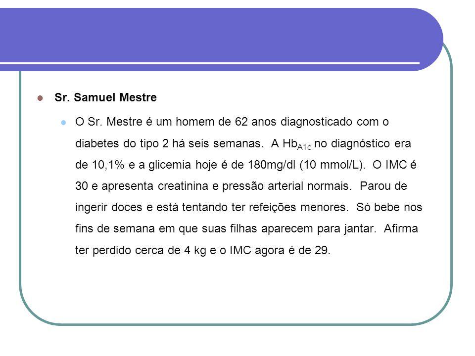 Sr. Samuel Mestre O Sr. Mestre é um homem de 62 anos diagnosticado com o diabetes do tipo 2 há seis semanas. A Hb A1c no diagnóstico era de 10,1% e a