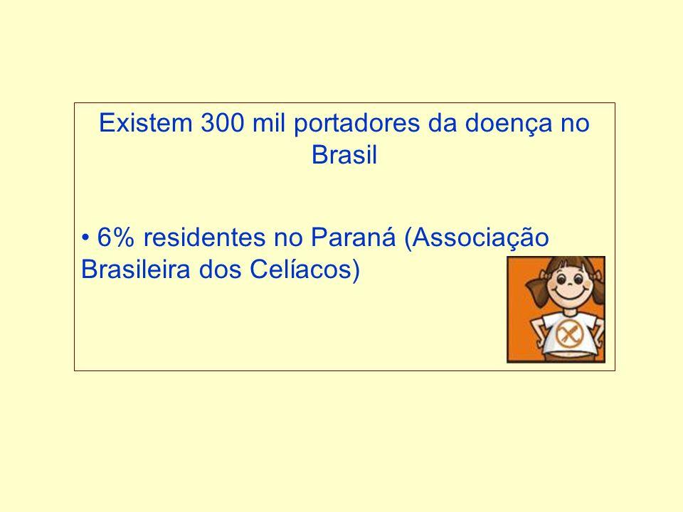 Existem 300 mil portadores da doença no Brasil 6% residentes no Paraná (Associação Brasileira dos Celíacos)