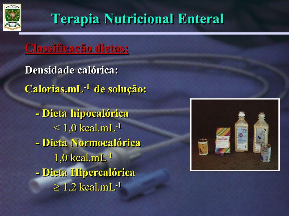 Terapia Nutricional Enteral Densidade calórica: Calorias.mL -1 de solução: - Dieta hipocalórica < 1,0 kcal.mL -1 - Dieta Normocalórica 1,0 kcal.mL -1