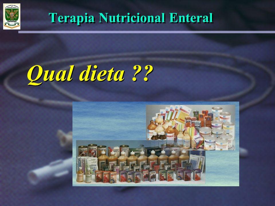 Terapia Nutricional Enteral Fonte de macronutrientes: Classificação dietas: ProteínaCarboidratoLipídeos Extrato de sojaGlicose/ frutose/ sacaroseT.C.L.