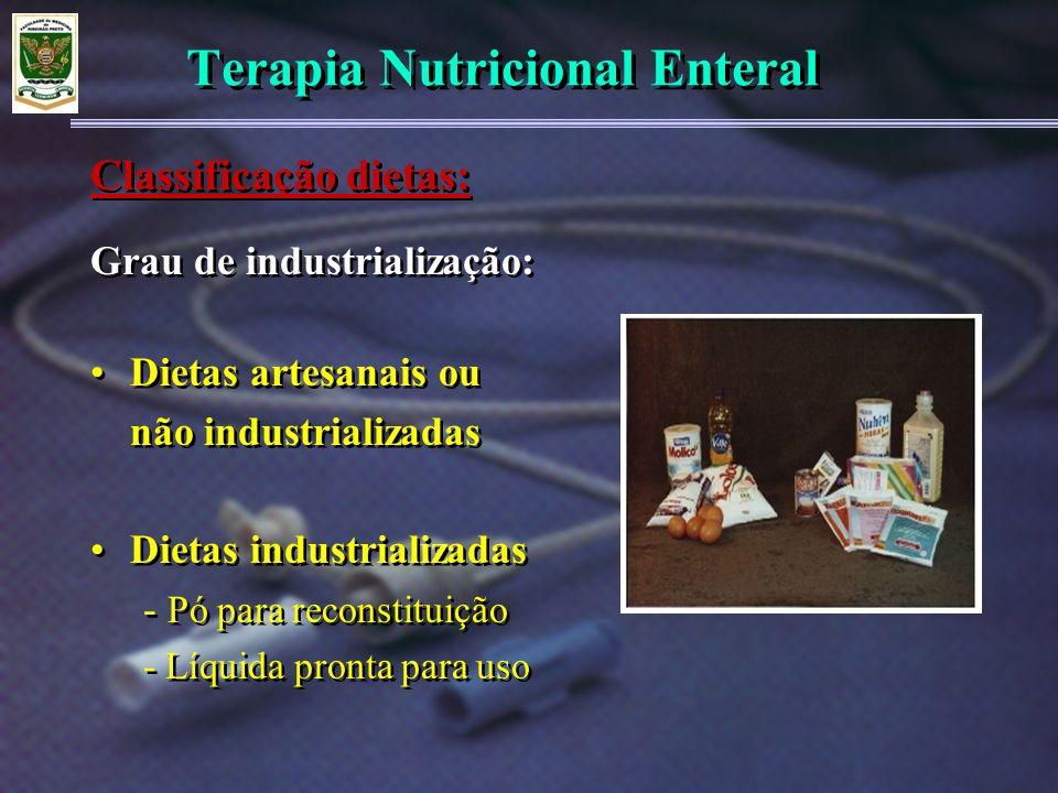 Terapia Nutricional Enteral Grau de industrialização: Dietas artesanais ou não industrializadas Dietas industrializadas - Pó para reconstituição - Líq
