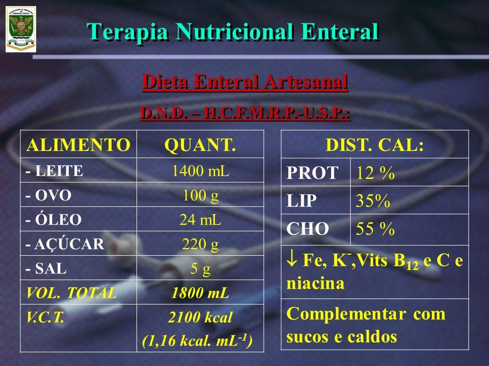 Terapia Nutricional Enteral Dieta Enteral Artesanal D.N.D. – H.C.F.M.R.P.-U.S.P.: Dieta Enteral Artesanal D.N.D. – H.C.F.M.R.P.-U.S.P.: ALIMENTOQUANT.