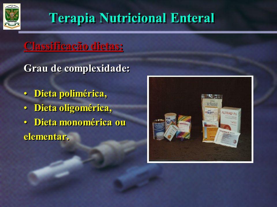 Terapia Nutricional Enteral Grau de complexidade: Dieta polimérica, Dieta oligomérica, Dieta monomérica ou elementar. Grau de complexidade: Dieta poli