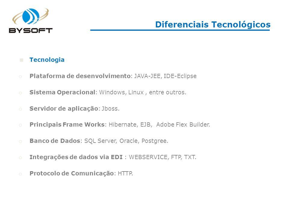 Diferenciais Tecnológicos Tecnologia o Plataforma de desenvolvimento: JAVA-JEE, IDE-Eclipse o Sistema Operacional: Windows, Linux, entre outros. o Ser