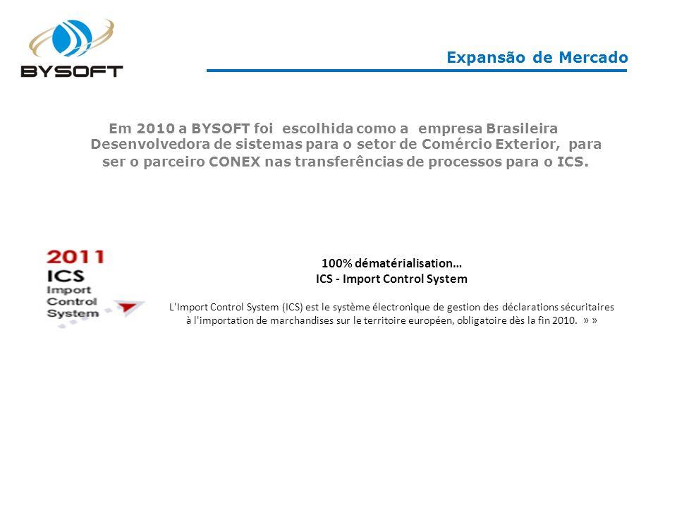 Expansão de Mercado 100% dématérialisation… ICS - Import Control System L Import Control System (ICS) est le système électronique de gestion des déclarations sécuritaires à l importation de marchandises sur le territoire européen, obligatoire dès la fin 2010.