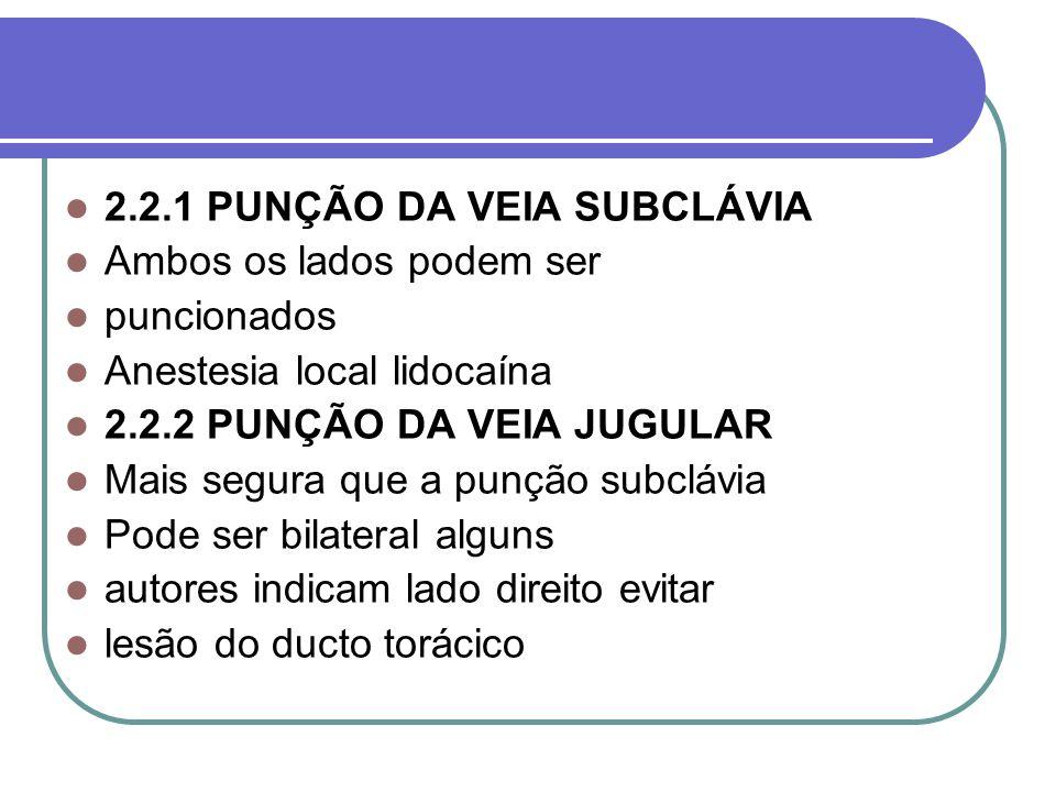 2.2.1 PUNÇÃO DA VEIA SUBCLÁVIA Ambos os lados podem ser puncionados Anestesia local lidocaína 2.2.2 PUNÇÃO DA VEIA JUGULAR Mais segura que a punção su