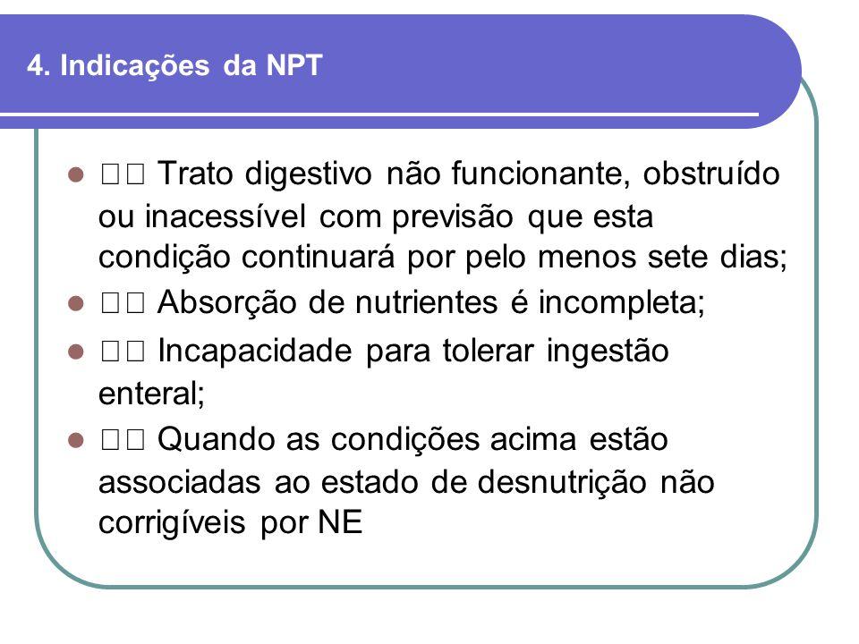 4. Indicações da NPT Trato digestivo não funcionante, obstruído ou inacessível com previsão que esta condição continuará por pelo menos sete dias; Abs
