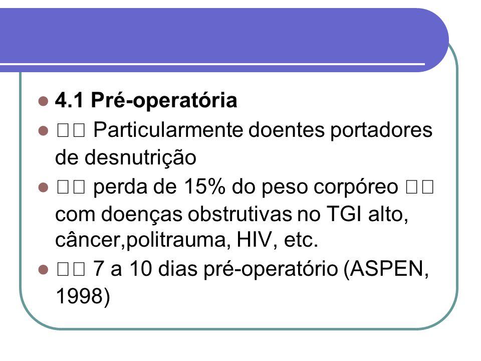 4.1 Pré-operatória Particularmente doentes portadores de desnutrição perda de 15% do peso corpóreo com doenças obstrutivas no TGI alto, câncer,politra