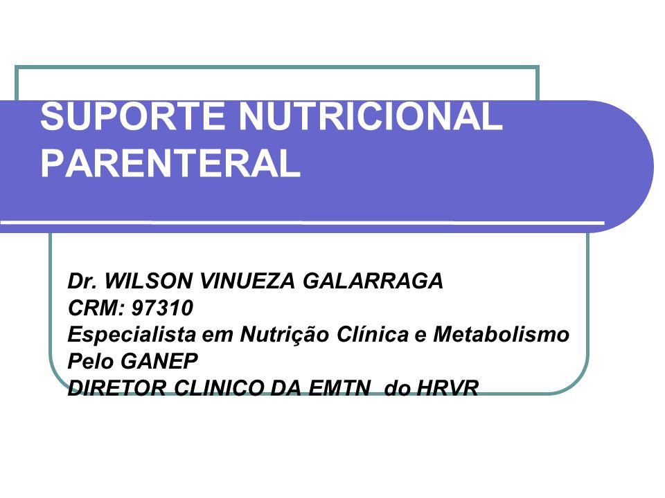 SUPORTE NUTRICIONAL PARENTERAL Dr. WILSON VINUEZA GALARRAGA CRM: 97310 Especialista em Nutrição Clínica e Metabolismo Pelo GANEP DIRETOR CLINICO DA EM