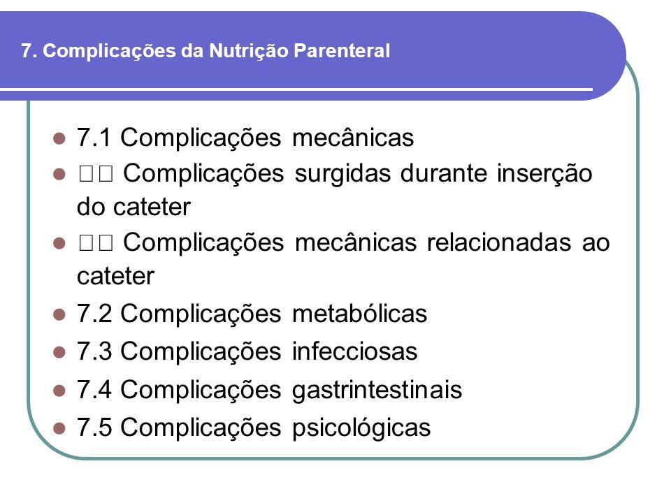 7. Complicações da Nutrição Parenteral 7.1 Complicações mecânicas Complicações surgidas durante inserção do cateter Complicações mecânicas relacionada