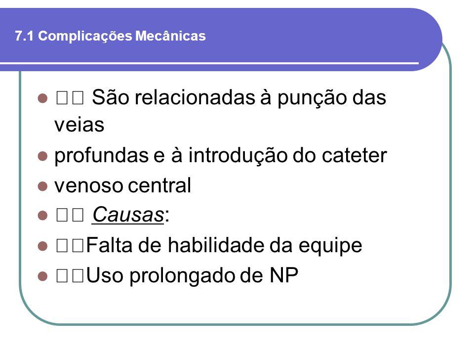 7.1 Complicações Mecânicas São relacionadas à punção das veias profundas e à introdução do cateter venoso central Causas: Falta de habilidade da equip