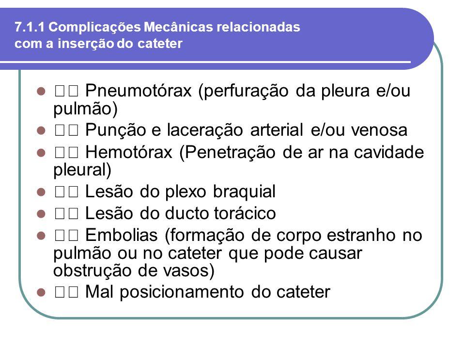 7.1.1 Complicações Mecânicas relacionadas com a inserção do cateter Pneumotórax (perfuração da pleura e/ou pulmão) Punção e laceração arterial e/ou ve
