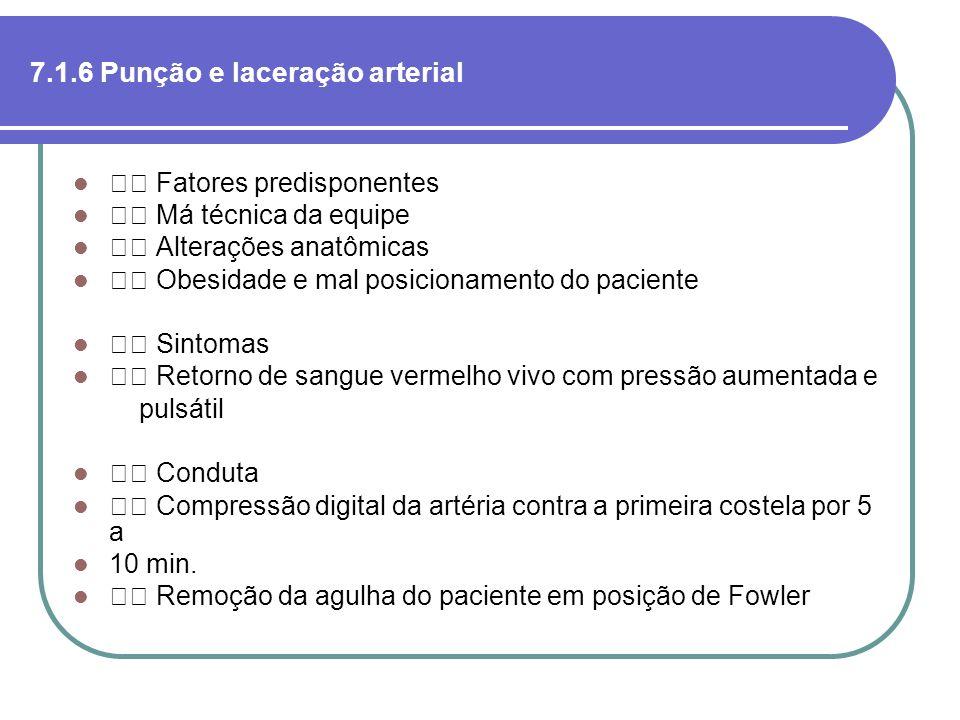 7.1.6 Punção e laceração arterial Fatores predisponentes Má técnica da equipe Alterações anatômicas Obesidade e mal posicionamento do paciente Sintoma