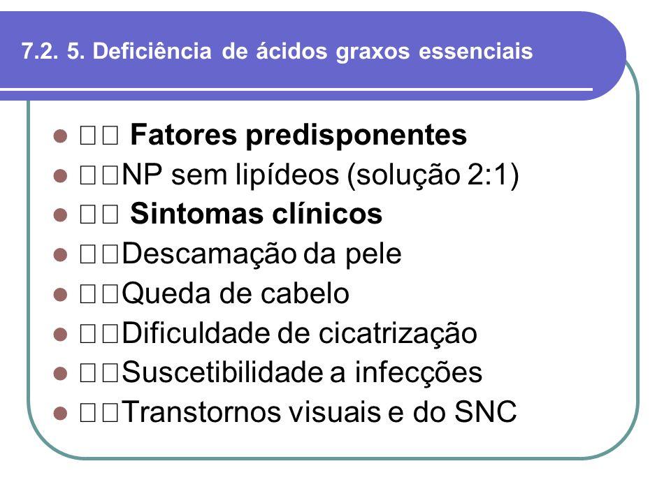 7.2. 5. Deficiência de ácidos graxos essenciais Fatores predisponentes NP sem lipídeos (solução 2:1) Sintomas clínicos Descamação da pele Queda de cab