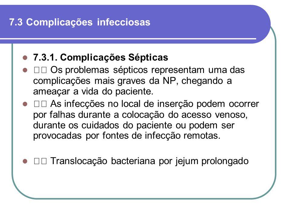 7.3 Complicações infecciosas 7.3.1. Complicações Sépticas Os problemas sépticos representam uma das complicações mais graves da NP, chegando a ameaçar