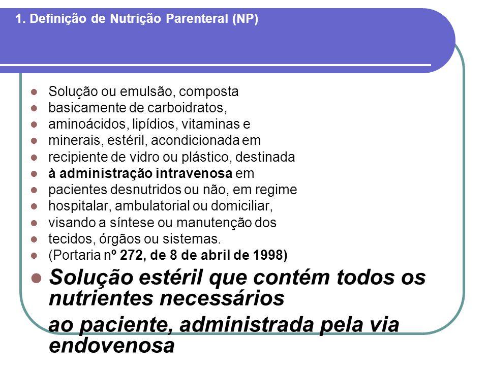 1. Definição de Nutrição Parenteral (NP) Solução ou emulsão, composta basicamente de carboidratos, aminoácidos, lipídios, vitaminas e minerais, estéri