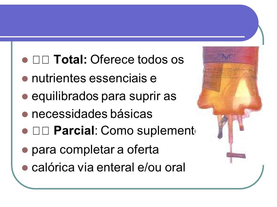 Total: Oferece todos os nutrientes essenciais e equilibrados para suprir as necessidades básicas Parcial: Como suplemento para completar a oferta caló
