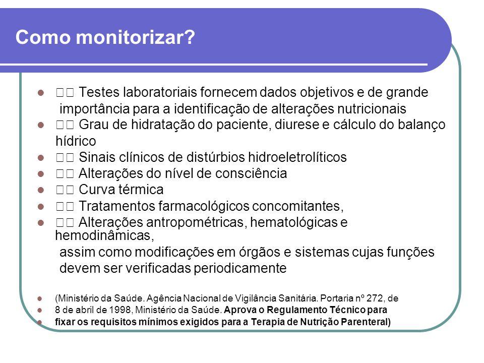 Como monitorizar? Testes laboratoriais fornecem dados objetivos e de grande importância para a identificação de alterações nutricionais Grau de hidrat