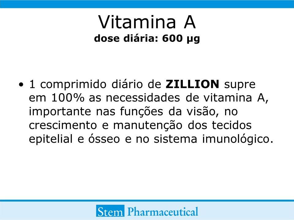 Vitamina A dose diária: 600 µg 1 comprimido diário de ZILLION supre em 100% as necessidades de vitamina A, importante nas funções da visão, no crescimento e manutenção dos tecidos epitelial e ósseo e no sistema imunológico.